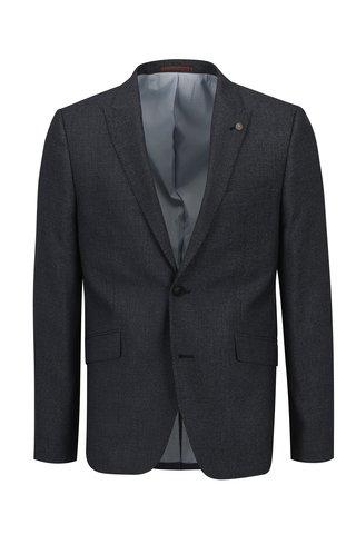 Modré pánské oblekové skinny sako s jemným vzorem Burton Menswear London