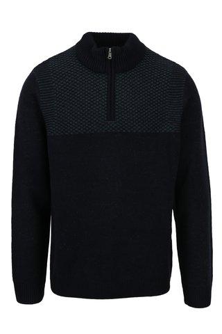 Pulover bleumarin cu guler inalt si fermoar - Burton Menswear London