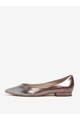 Balerini argntiu&roz metalic din piele cu varf ascutit - Carvela Live NP