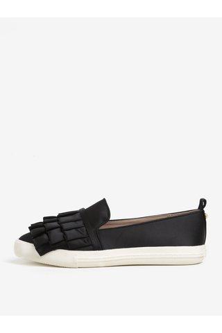 Pantofi slip on negri cu volane decorative - Miss KG Livia