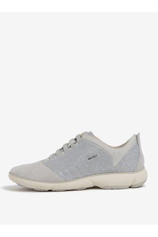 Pantofi sport gri din piele cu aspect stralucitor pentru femei Geox Nebula