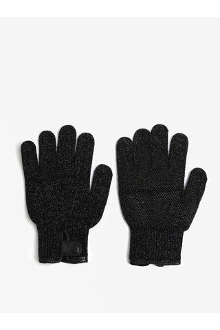 Černé žíhané dotykové unisex rukavice Mujjo