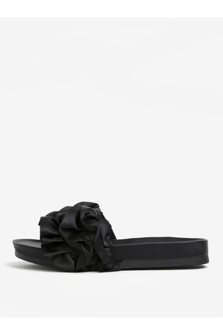 Černé pantofle na platformě s volány Miss KG Ruffle