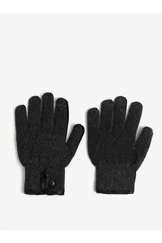 Černé žíhané hřejivé dotykové unisex rukavice Mujjo