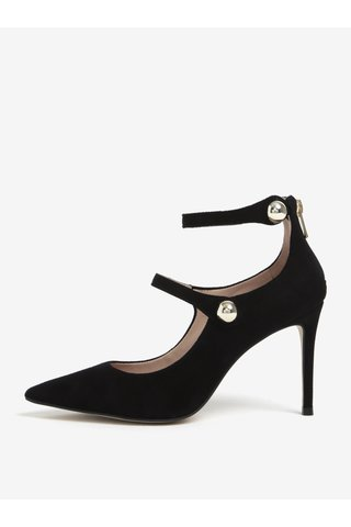 Pantofi negri din piele intoarsa cu barete si toc inalt - Carvela Aniline NP