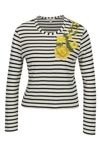 Bluza crem in dungi cu broderie florala Miss Selfridge