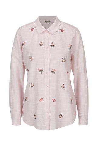 Camasa roz deschis cu dungi crem si broderie florala - M&Co
