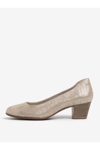 Pantofi maro din piele intoarsa cu toc stabil - Tamaris