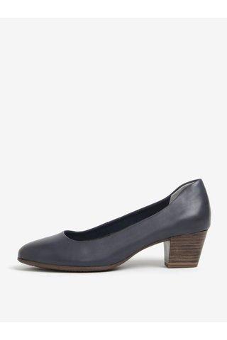Pantofi bleumarin din piele naturala cu toc stabil - Tamaris