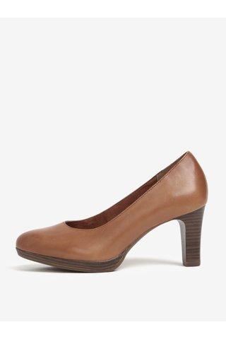 Pantofi maro din piele naturala cu toc si varf rotund - Tamaris
