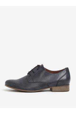 Pantofi bleumarin din piele naturala texturata - Tamaris