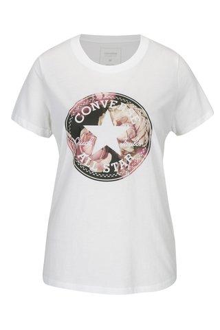 Tricou crem cu print si logo pentru femei -  Converse Floral
