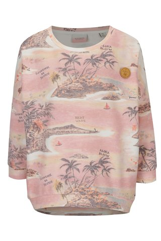 Bluza oversized roz pal cu print tropical si maneci 3/4 Scotch & Soda