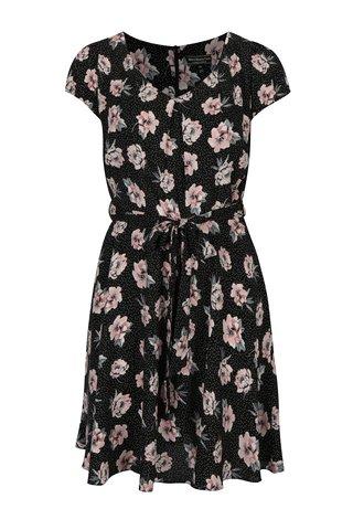 Rochie neagra cu print buline&floral Billie & Blossom Curve