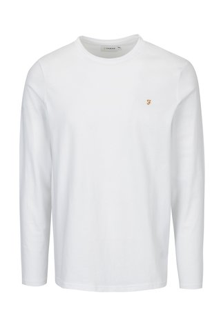 Bluza slim fit basic alba cu logo brodat Farah Denny