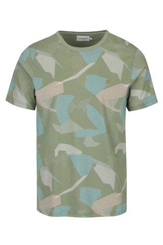 Tricou verde deschis cu print army abstract  Farah Northenden