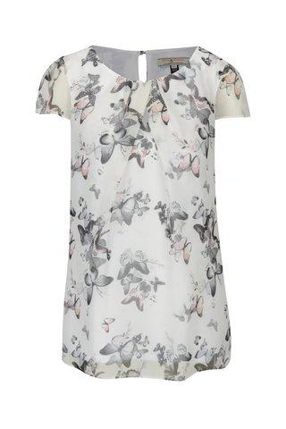 Bluza crem cu maneci transparente si print fluturi Billie & Blossom
