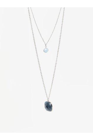 Colier cu pandantiv dublu bleumarin&bleu din piatra Pieces Marley