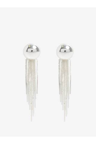 Cercei lungi argintii cu lanturi  decorative - Pieces Victorine
