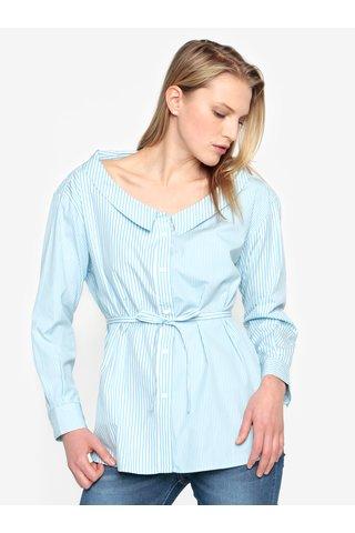 Krémovo-modrá pruhovaná košile s páskem French Connection Serrana