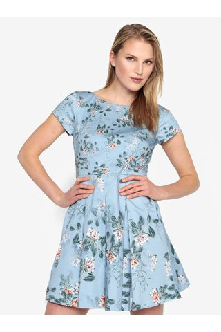 Rochie albastra cu print floral si pliseuri - French Connection Kioa