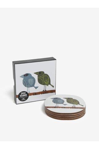 Set de 4 suporturi pentru pahare cu print pasari -  Family of Birds Coffee Coasters