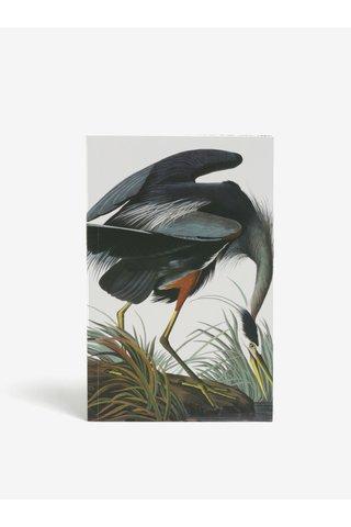 Bílý zápisník s motivem jeřába Magpie Heron