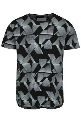 Tricou negru cu print geometric - Lindbergh