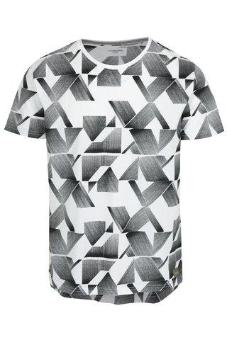 Tricou alb cu print geometric negru - Lindbergh