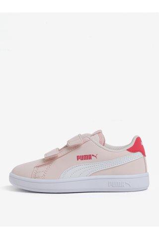 Růžové holčičí tenisky na suchý zip Puma Smash