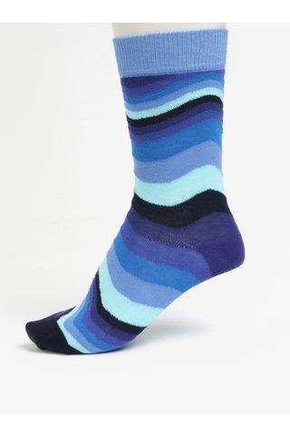 Modré pruhované unisex ponožky Happy Socks Wavy Stripe