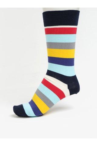 Žluto-modré pánské pruhované ponožky Happy Socks Stripe