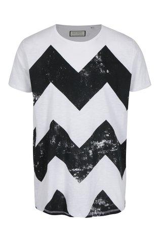Tricou alb cu print zig zag Shine Original
