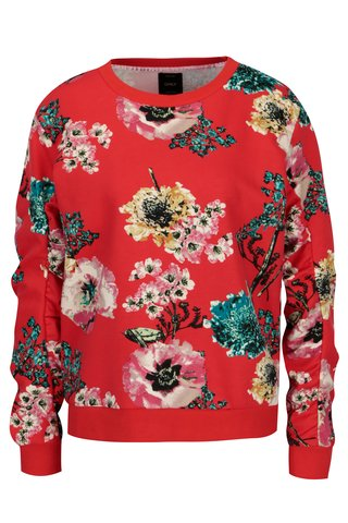 Bluza rosie cu print floral ONLY Katherine