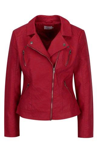Jacheta biker rosie din piele sintetica ONLY Steady