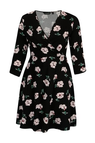 Rochie neagra cu decolteu suprapus si print floral - Dorothy Perkins Curve