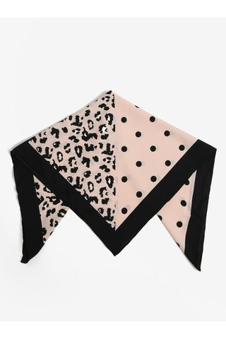Esarfa negru & roz cu print - Pieces Matiilda