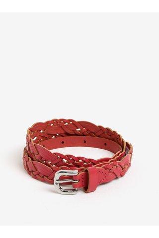 Curea roz inchis din piele cu model impletit - Pieces Melina