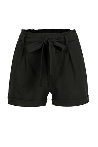 Pantaloni scurti negri cu funda in talie - TALLY WEiJL