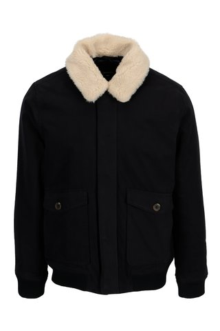Geaca bleumarin de iarna cu guler de blana sintetica Burton Menswear London