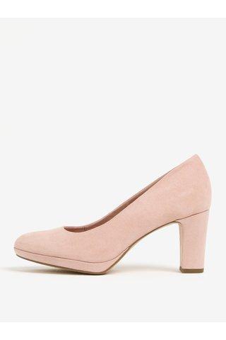 Pantofi roz cu aspect de piele intoarsa - Tamaris