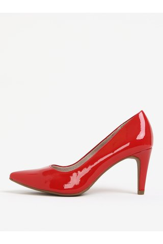 Pantofi rosii cu toc inalt si aspect lacuit - Tamaris