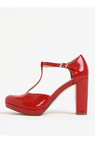 Pantofi rosii decupati cu bareta si toc inalt - Tamaris