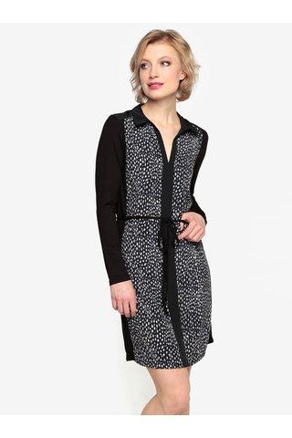 Rochie cu animal print si detalii contrastante negru & crem -  Oasis Animal