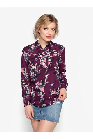 Tmavě fialová květovaná halenka Oasis Kimono