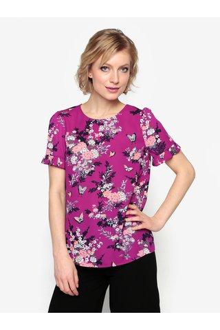 Bluza mov cu print floral si pliseuri la maneci - Oasis Kimono