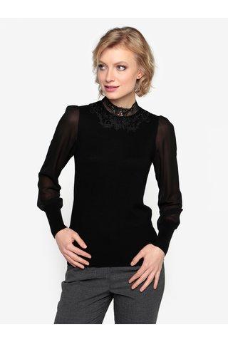Černý top s průsvitnými rukávy a krajkou Oasis Lace