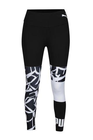 Colanti sport negru&alb cu print pentru femei - Puma