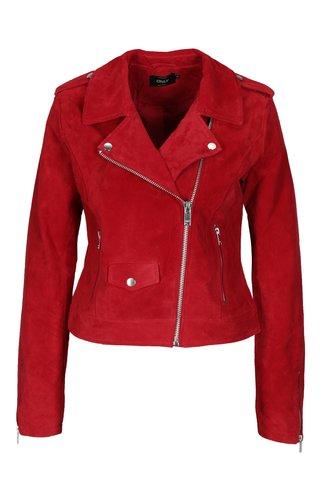 Jacheta biker rosie din piele intoarsa ONLY Grace