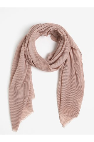 Esarfa plisata roz prafuit cu franjuri Pieces Nabia
